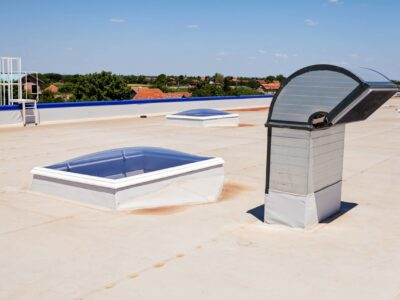 This is an image of a commercial building roofing.